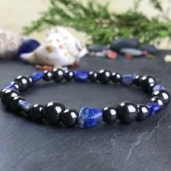 Bracelet Homme Femme Perles Hématite Lapis Lazuli