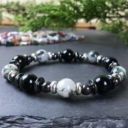 Bracelet Homme Femme Perles Naturelles Hématite Obsidienne Agate indienne Acier