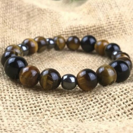 Bracelet Homme Femme Perles Hématite oeil du tigre obsidienne