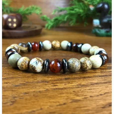 Bracelet Homme Femme pierres Naturelles Jaspe - Jaspe Paysage - Hématite