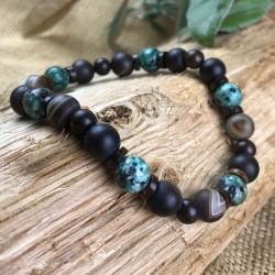Bracelet Homme Femme Pierres Naturelles Turquoise d'Afrique Coco Carmelian Onyx