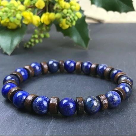 Bracelet Homme Femme Pierres Lapis Lazuli  Bois Lithothérapie Men