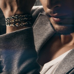 Bracelet Homme Femme Pierres Oeil du Tigre triple  Bois Lithothérapie Men