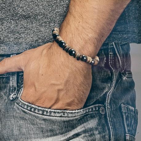 Bracelet Homme Femme Pierres Hématite bois perles du Tibet Lithothérapie Men