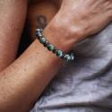 Bracelet Homme Femme Pierres Turquoise d'Afrique  Bois Lithothérapie Men