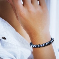 Bracelet Homme/Femme Perles Hématite Pierres Naturelles - Perles du Tibet