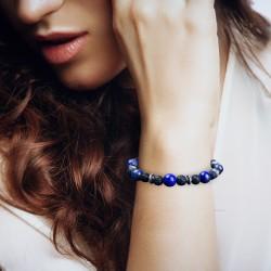 Bracelet Homme Femme Perles Naturelle Lapis Lazuli Lave Tibet
