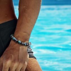 Bracelet Homme Femme Pierres Turquoise d'Afrique Bois Tibet - Lithothérapie