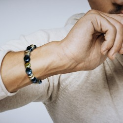 Bracelet Homme Femme Pierres Oeil du Tigre obsidienne Bois Tibet Lithothérapie