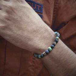 Bracelet Homme Femme Perles Pierre de Lave Turquoise Coco Tibet Lithothérapie