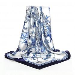 Carré de Soie à motifs Floral Blanc Bleu