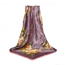 Carré de Soie à motifs cachemire et Floral Violet