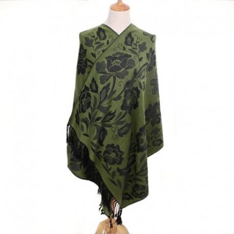 Grand Châle - Pashmina - vert f Floral Foulard - Etole 180 X 70