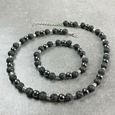 Collier Homme Femme perles Hématite pierre de lave Tibet - Lithothérapie