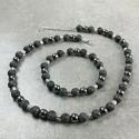 Collier + Bracelet Homme Femme perles Hématite pierre de lave Tibet - Lithothérapie