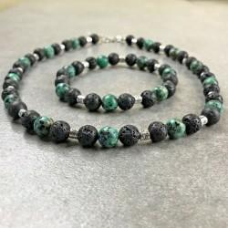 Parure Collier Bracelet Pierres Naturelles Turquoise d'Afrique Lave Tibet
