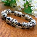 Bracelet Homme femme Jaspe Dalmatien Bois Tibet Pierres naturelles Lithothérapie