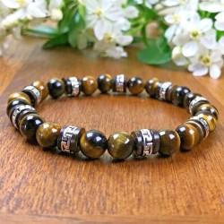 Bracelet Homme Femme Oeil de tigre Bois de coco Perles du Tibet Lithothérapie