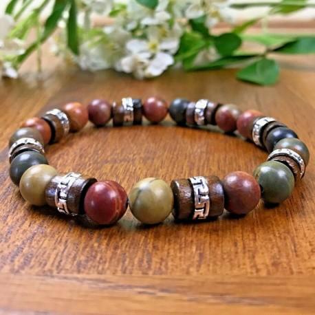 Bracelet Homme femme Jaspe Picasso - Bois -- Perles Naturelles - Lithothérapie