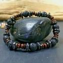 Bracelet Mixte pierres Naturelles pierre de lave Hématite bois Lithothérapie