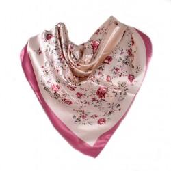 Carré de Soie rose motif floral