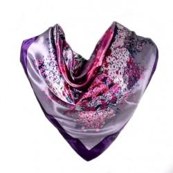 Carré de Soie violet motif floral