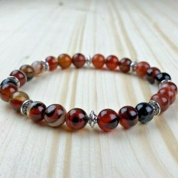 Bracelet Homme Femme Perles Naturelle Jaspe Tibet Lithothérapie