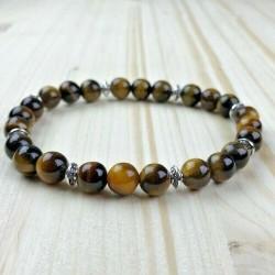 Bracelet Homme Femme Oeil du Tigre perles Naturelles - Tibet Lithothérapie