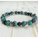 Bracelet Homme femmeTurquoise Afrique Perles du Tibet - lave Lithothérapie
