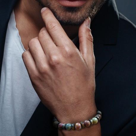 Bracelet Homme femme Jaspe Picasso - Bois - Perles Naturelles - Lithothérapie