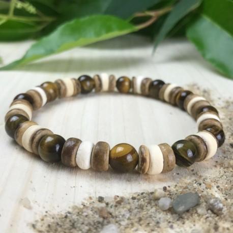 Bracelet Homme Femme Oeil du Tigre perles Naturelles - Tibet Lave Lithothérapie