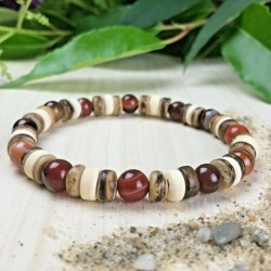Bracelet Homme Femme Perles Naturelle Jaspe  Lithothérapie