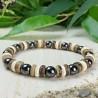 Bracelet Homme Femme Perles Naturelles Hématite Bois Cocotier Lithothérapie