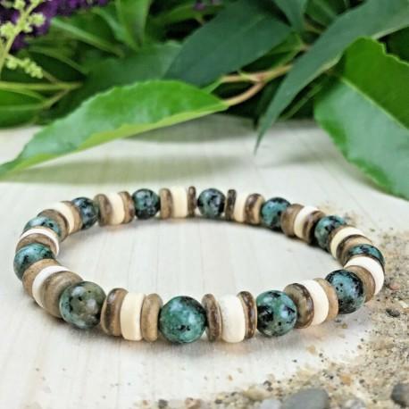 Bracelet Homme Femme Perles Naturelles Bois Cocotier Lithothérapie