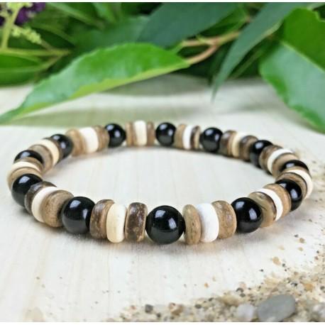 Bracelet Homme Femme Perles Naturelles Obsidienne Bois Cocotier Lithothérapie