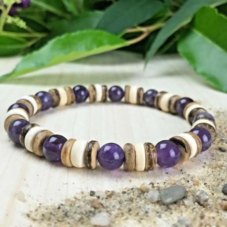 Homme Femme Bracelet perles pierres naturelles Améthyste Bois de Cocotier