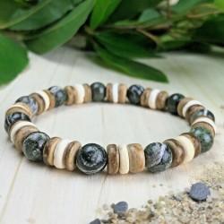 Bracelet Homme Femme Perles Naturelles Jaspe Zèbre Bois Cocotier Taille au choix
