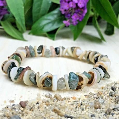 Bracelet Pierres Naturelles Agate Indienne Nacre coquillage - Taille au choix