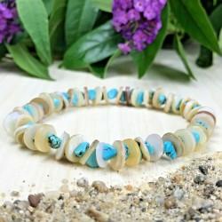 Bracelet Pierres Naturelles Agate - Cristal Nacre coquillage - Taille au choix