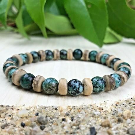 Bracelet Femme ou Homme - pierres Turquoise d'Afrique Cocotier Taille au choix