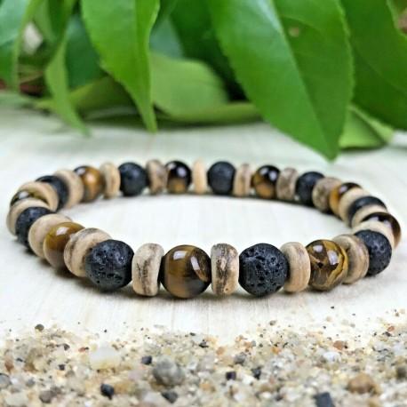 Bracelet Femme ou Homme - pierres de lave bois de Cocotier Taille au choix