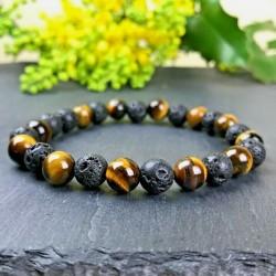 Bracelet Homme Femme Oeil du Tigre pierre de lave Naturelles