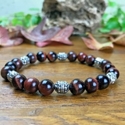 Bracelet Homme Femme Perles Naturelles Oeil de Taureau Tibet