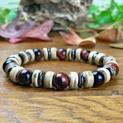 Bracelet Homme Femme Perles Naturelle Oeil de Taureau bois hématite