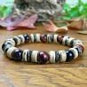 Bracelet Homme Femme Perles Naturelles Oeil de Taureau Hématite Bois de cocotier