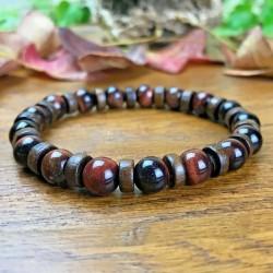Bracelet Homme Femme Perles Naturelles Perles du Tiber Oeil de Taureau Tibet