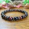 Bracelet Homme Femme Perles Naturelles Oeil de Taureau Bois