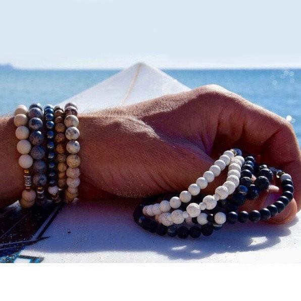 Bracelet Homme Femme Pierres Naturelles - Améthyste - Obsidienne - Bois de Coco