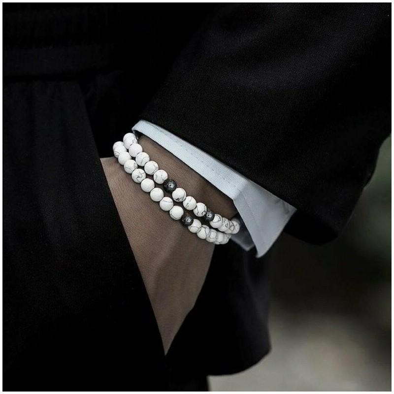 2 Bracelets Howlite Pierre de lave Naturelles