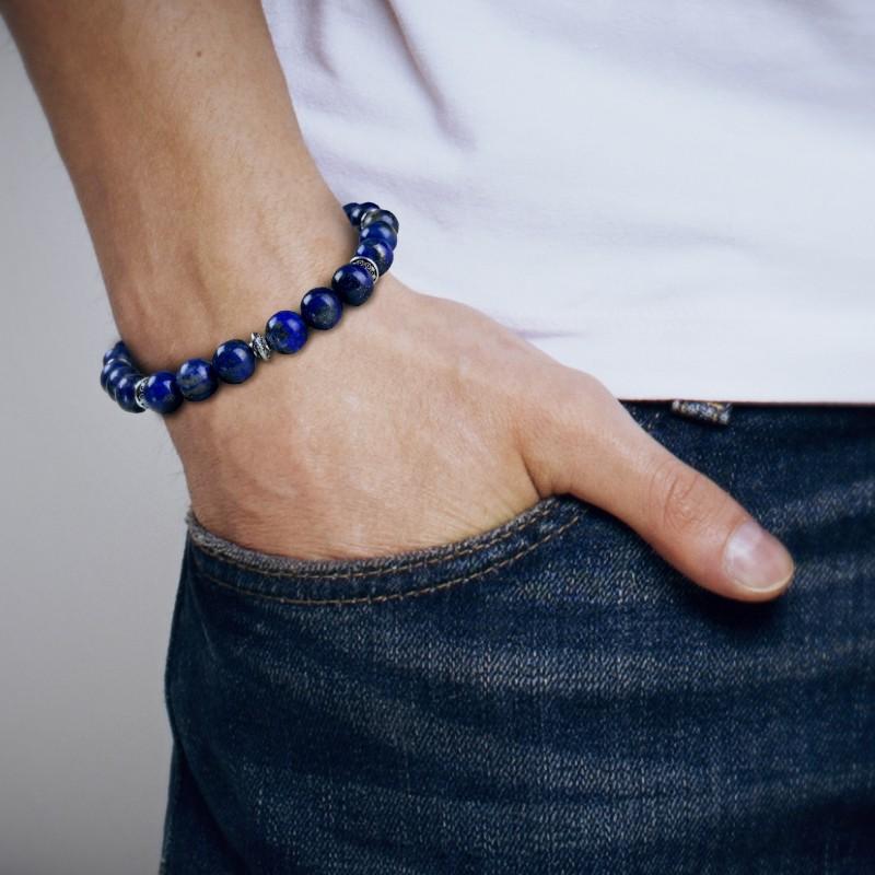 Bracelet Homme Femme Perles Naturelles Lapis Lazuli Tibet Lithothérapie